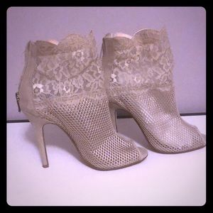 Nude lace mesh booties